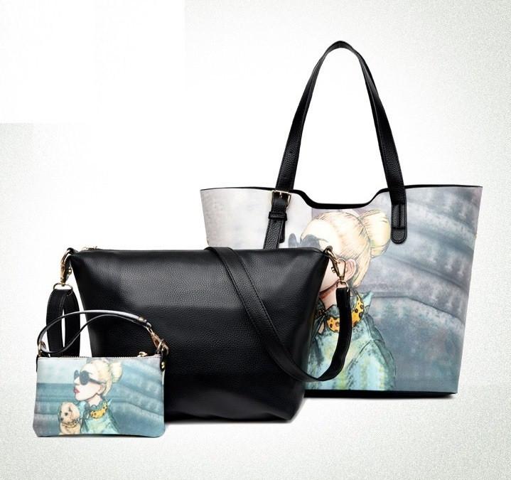 b08d2a5d563e Набор женских сумок 3в1 с тематическим рисунком черная - ModaShop в Киеве