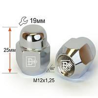 Гайки колесные M12x1,25x25; Хром, Конус, ключ 19 (закрытые), Vector 601144 Cr - шт.