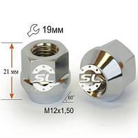 Гайки колесные M12x1,5x21; Хром, Конус, ключ 19 (закрытые), Крепеж колес 400045 Cr - шт.