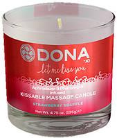 Свеча для массажа и поцелуев DONA Kissable Massage Candle, клубника