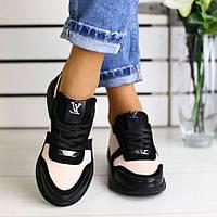 Модные женские замшевые кроссовки кеды кожаные вставки на платформе пудра черные JH73KU07J