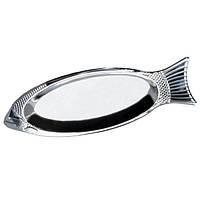Удобное блюдо для рыбы из нержавеющей стали 35см  4338