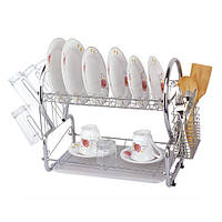 Недорогая сушилка для посуды двухъярусная 55*24.5*39см 0768 купить кухонные сушилки недорого