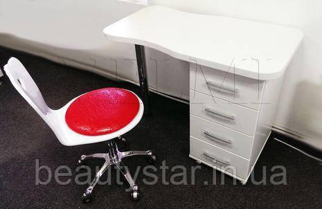 Мініатюрний манікюрний стіл 98х74х48 см подвійна стільниця однотумбовий без витяжки VM107