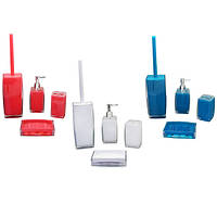Аксессуары для ванной 4 предмета дозатор для мыла, стакан, мыльница, ерш  8010
