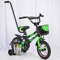 Детский двухколесный велосипед HAMMER-12 S500, 12 дюймов, Черно-Зеленый