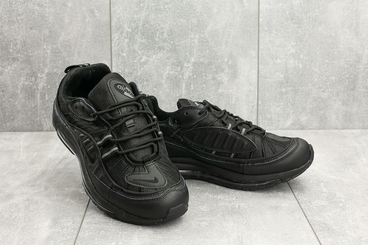 Кроссовки A 118-15 (Nike Air Max 98 x Supreme) (весна-осень, мужские, кожа прессованая, черный)