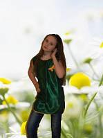 Нарядный яркий топ для девочки 11-12 лет, зеленый с бабочкой. Оригинальный подарок на 8-е марта.
