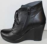 Ботинки женские демисезонные на платформе из натуральной кожи черного цвета от производителя модель ЛЕ100, фото 3