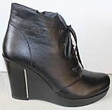 Ботинки женские демисезонные на платформе из натуральной кожи черного цвета от производителя модель ЛЕ100, фото 2