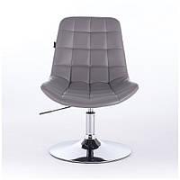Парикмахерское кресло HR590N, хром база Серый, Искусственная кожа