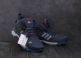 Кроссовки А1881-4 Adidas Clima Proof (зима, мужские, кожа прессованая, синий)