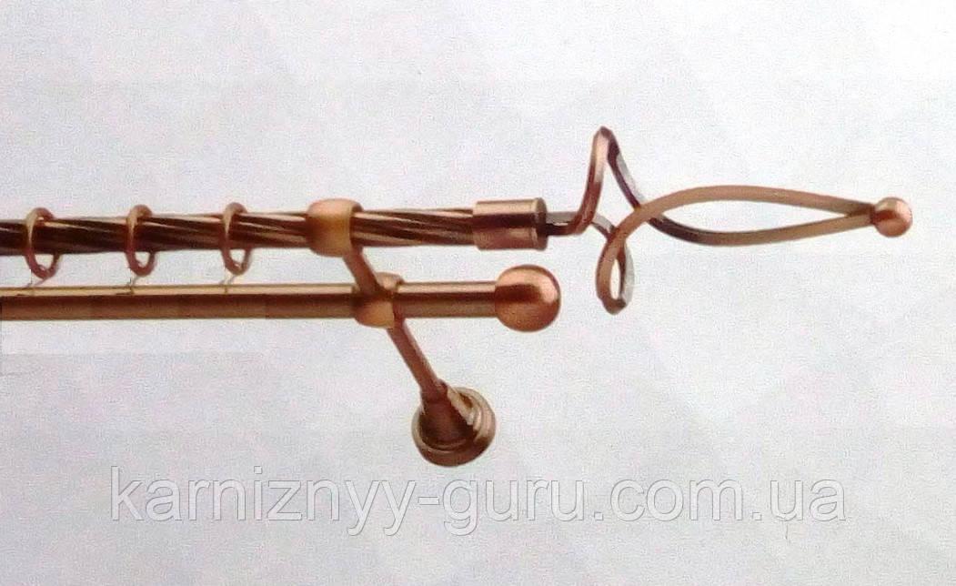Карниз для штор двойной ø 16+16 мм, наконечник Ажур фалистый