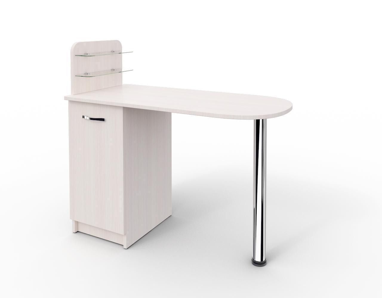 """Манікюрний стіл c поличками під лак """"Практик"""" Ваніль, Цільна"""