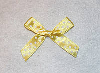 Бантик атласный желтый в белый горошек  651 поштучно, фото 1