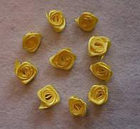 Атласная розочка жёлтая 751 упаковка 10 шт, фото 1