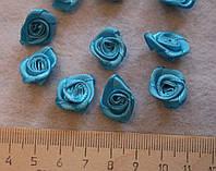Атласная розочка голубая 752  упаковка 10 шт, фото 1