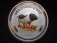"Серебряная монета Австралия, 1 доллар ""Год Кабана"" 2007 года, 999, PROOF"