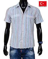 Летняя рубашка на короткий рукав в  полоску.