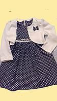 Стильное платьедля девочки в горох с белым болеро 5-8 лет, фото 1