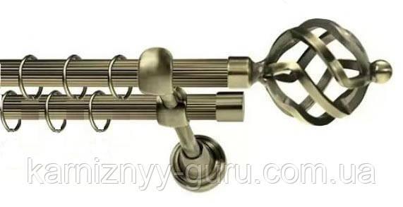 Карниз для штор двойной ø 16+16 мм, наконечник Ажур