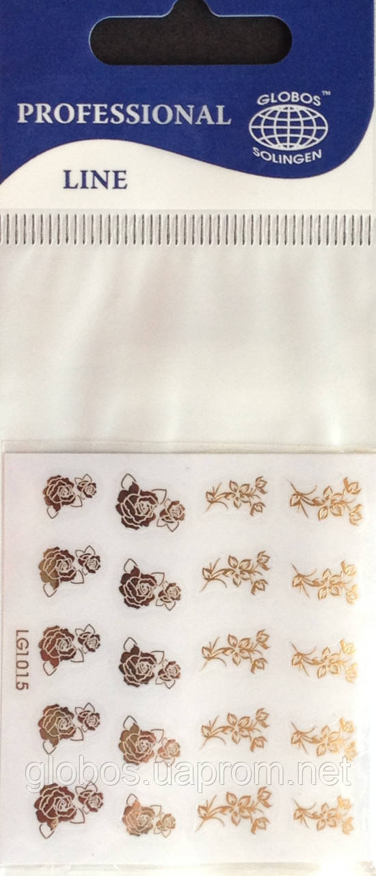 """Наклейка на ногти металлизированная золотая  2D  """"GLOBOS"""" логотип  IGK1015G"""