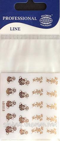 """Наклейка на ногти металлизированная золотая  2D  """"GLOBOS"""" логотип  IGK1015G, фото 2"""