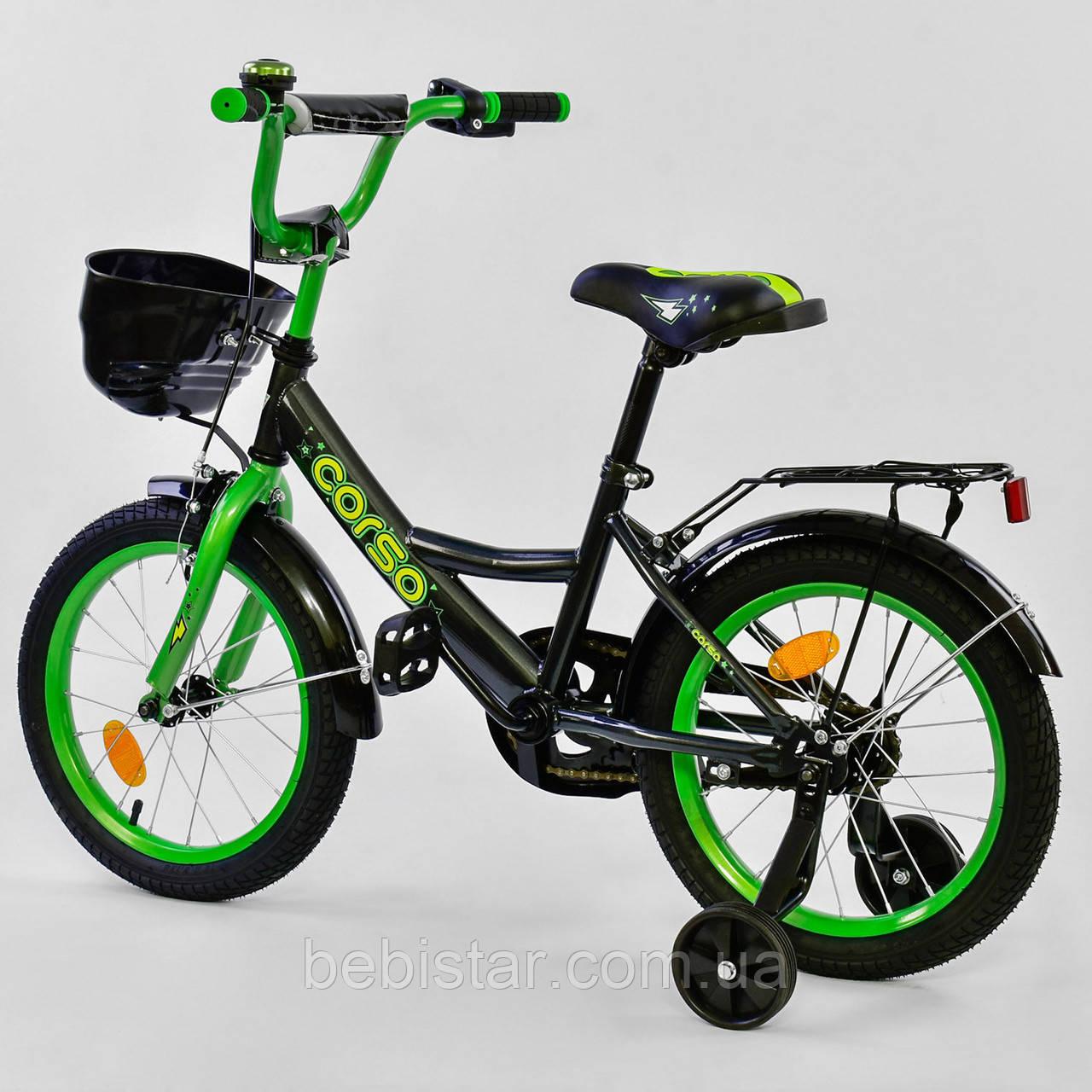 """Двоколісний велосипед чорний, зелений обід з ручним гальмом додаткові колеса Corso 16"""" дітям 4-6 років"""