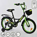 """Двоколісний велосипед чорний, зелений обід з ручним гальмом додаткові колеса Corso 16"""" дітям 4-6 років, фото 2"""