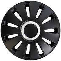 Колпаки на колеса R14 черные + хром по центру, Дорожная карта REX (DK-R14RC) - штука