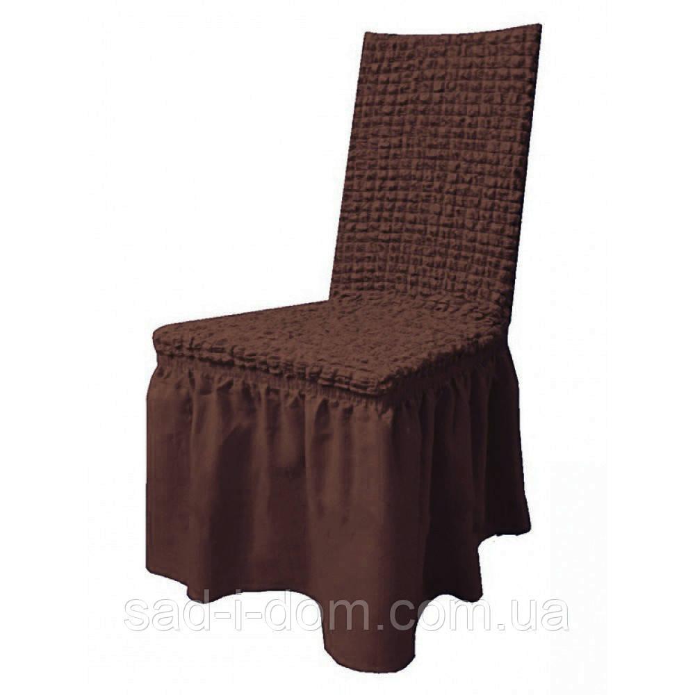 Набор чехлов на стулья с юбкой, чехлы на стулья 6 шт, шоколад