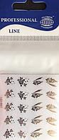 """Наклейка на ногти металлизированная серебро  2D  """"GLOBOS"""" логотип  IGK1008S"""