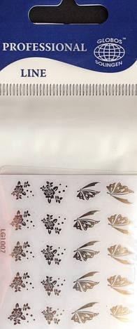 "Наклейка на ногти металлизированная серебро  2D  ""GLOBOS"" логотип  IGK1008S, фото 2"