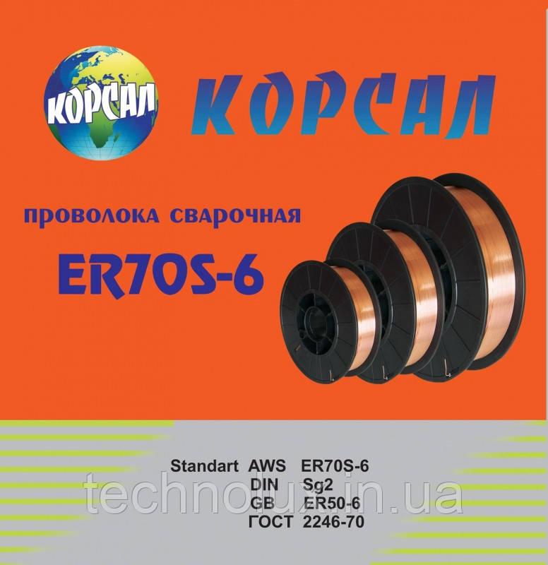 Омедненная, сварочная проволока ER-70S-6 ф1,0 15кг Корсал