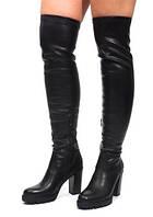 Кожаные демисезонные ботфорты на каблуке размеры 35,36,39