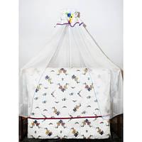 Cпальный комплект в детскую кроватку  с защитой и балдахином Вышиванка 100% хлопок ТМ Медисон Украина