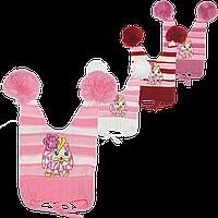 Детская вязаная шапочка на завязках, ТМ Аника, р.48-50, Украина