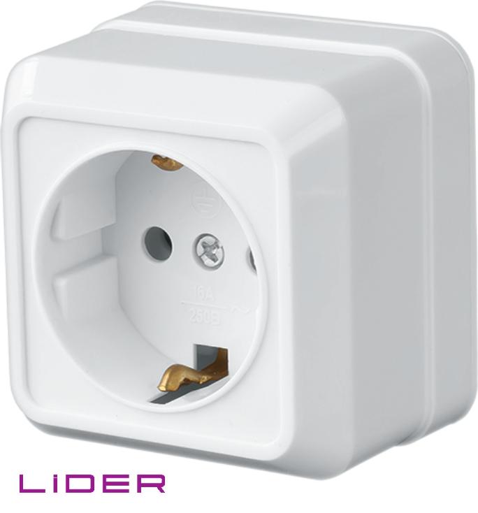 Розетка с заземлением (Керамика) LiDER Legenda LRO10-779