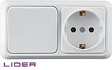 Блок выкл. 1кл. + розетка с з/к LiDER Legenda LVR10-767, фото 2