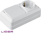 Блок выкл. 1кл. + розетка с з/к LiDER Legenda LVR10-767, фото 3