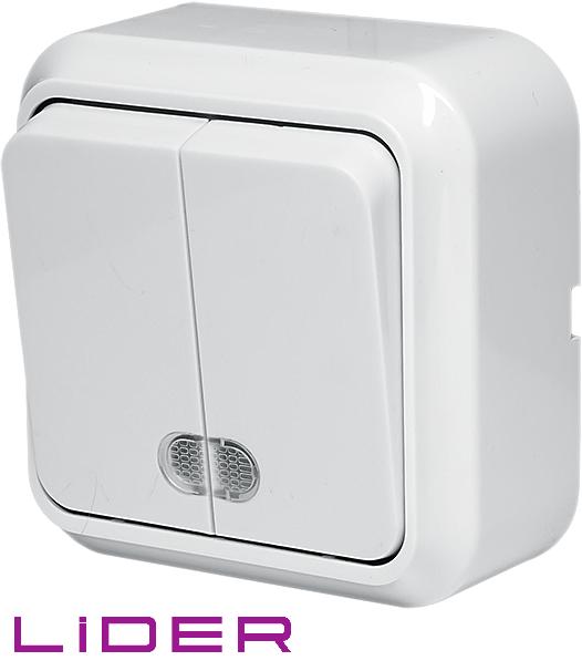 Выключатель двухклавишный с подсветкой LiDER Nova LVO10-881