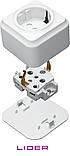 Розетка одинарная с заземлением (Керамика) LiDER Nova LVO10-879, фото 4