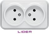 Розетка двойная без заземления (Керамика) LiDER Nova LVO10-887, фото 2