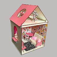 Домик для Барби 2 комнаты/ 2 этажа с мебелью + обои + шторки
