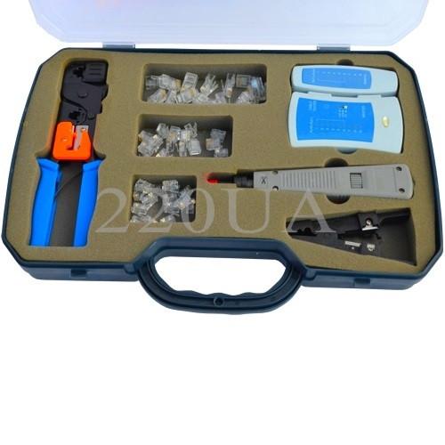 Набір телеф. інстр. обтиск.(RJ45,12,11)+тестер+відстібний к. в пласт.коробці
