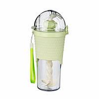 Бутылка с шейкером и трубочкой зеленая