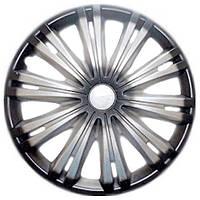 Колпаки на колеса R15 черные + серебро, Star Giga+ (2927) - комплект (4 шт.)