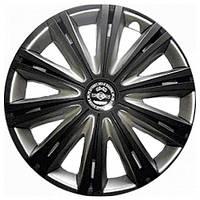 Колпаки на колеса R15 черные + серебро, Star Giga Super Black (2928) - комплект (4 шт.)