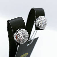 Сережки гвоздики з срібла 925 з цирконами і логотипом Pandora, фото 1