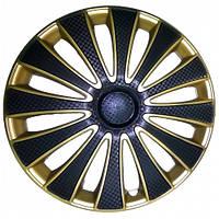 Колпаки на колеса R15 черные + золото, Star GMK Super Black Gold (5277) - комплект (4 шт.)